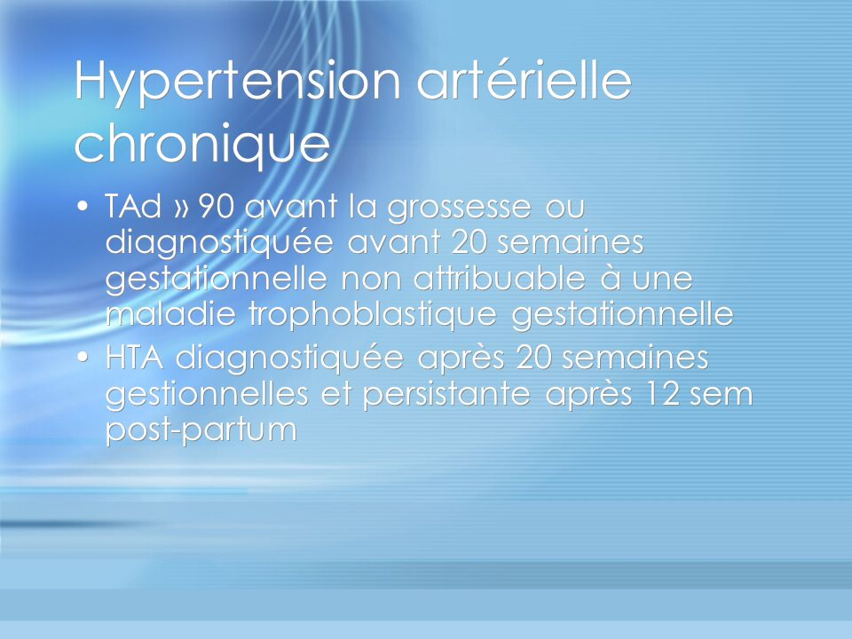 Hypertension artérielle chronique