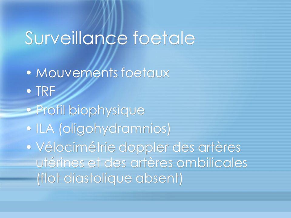 Surveillance foetale Mouvements foetaux TRF Profil biophysique