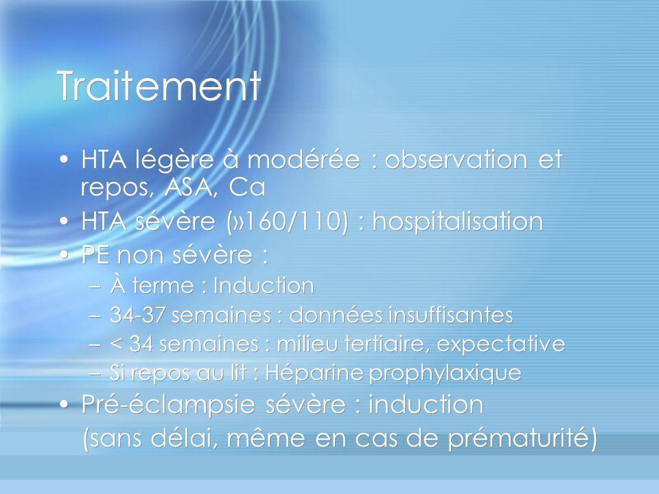 Traitement HTA légère à modérée : observation et repos, ASA, Ca