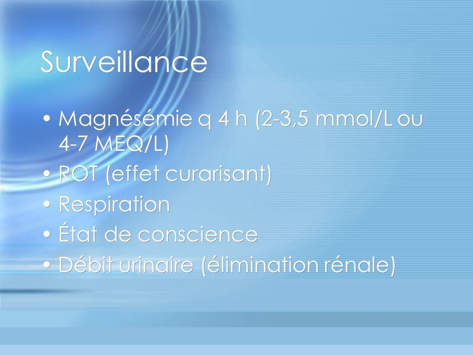 Surveillance Magnésémie q 4 h (2-3,5 mmol/L ou 4-7 MEQ/L)