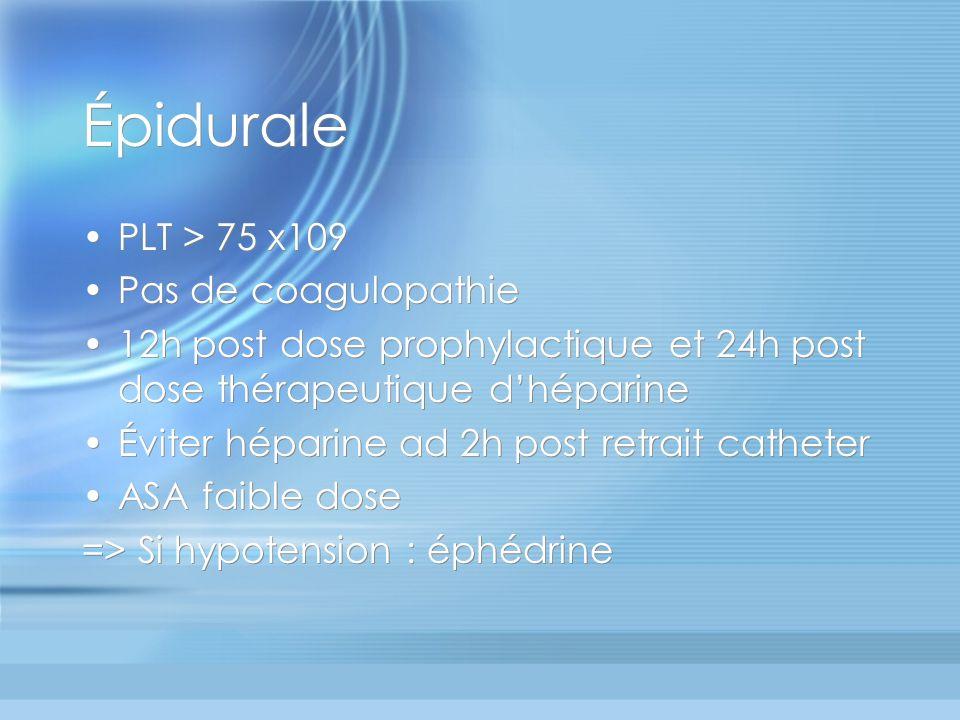 Épidurale PLT > 75 x109 Pas de coagulopathie