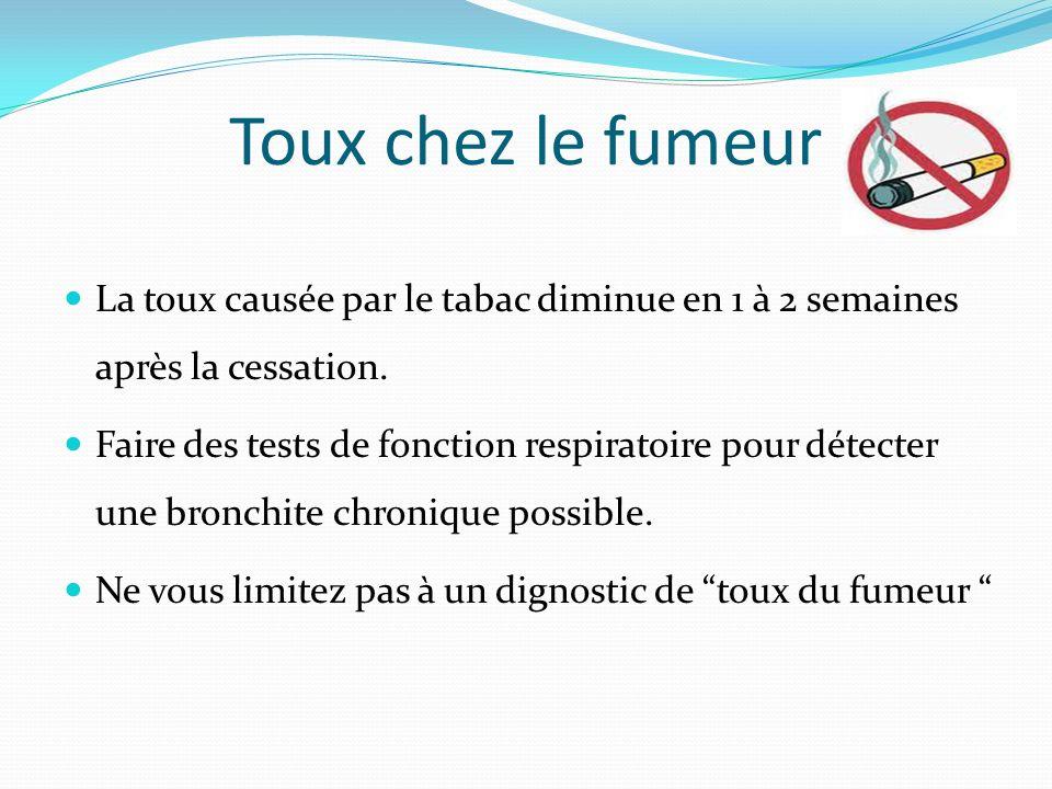 Toux chez le fumeur La toux causée par le tabac diminue en 1 à 2 semaines après la cessation.