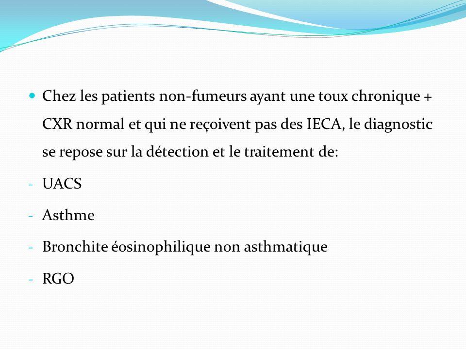 Chez les patients non-fumeurs ayant une toux chronique + CXR normal et qui ne reçoivent pas des IECA, le diagnostic se repose sur la détection et le traitement de: