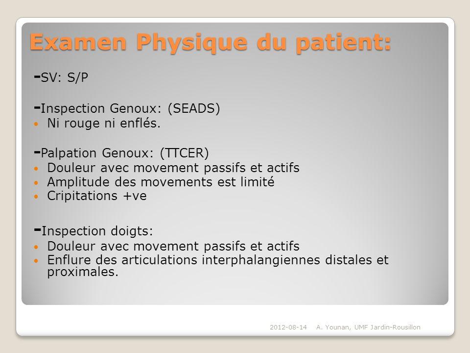 Examen Physique du patient: