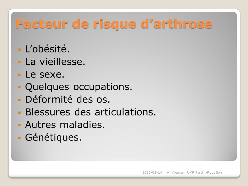 Facteur de risque d'arthrose