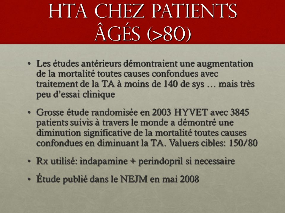HTA chez patients âgés (>80)