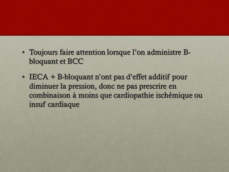 Toujours faire attention lorsque l'on administre B- bloquant et BCC