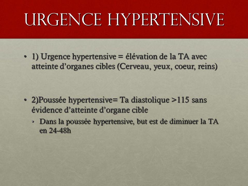 Urgence hypertensive 1) Urgence hypertensive = élévation de la TA avec atteinte d'organes cibles (Cerveau, yeux, coeur, reins)