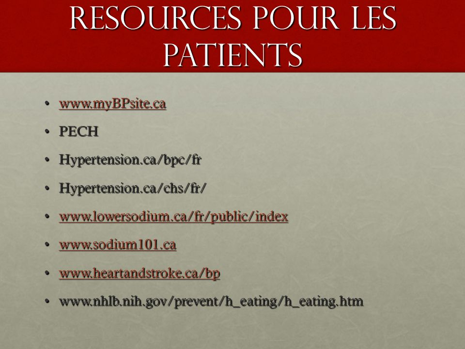 Resources pour les Patients