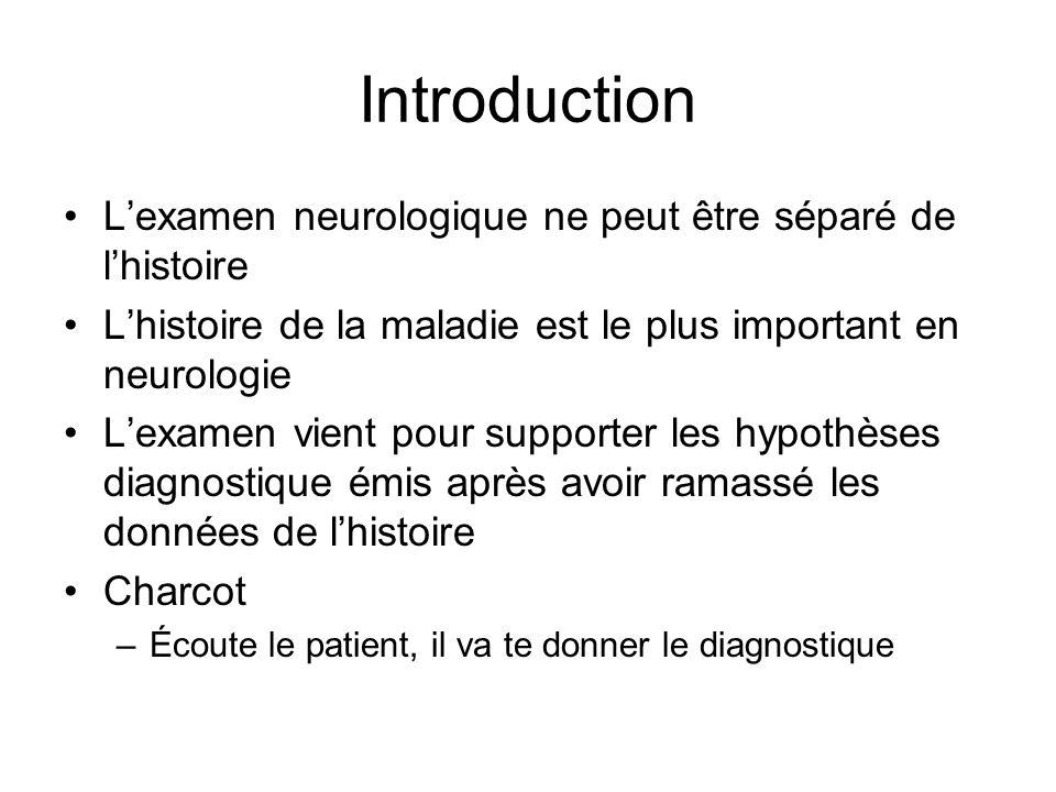 Introduction L'examen neurologique ne peut être séparé de l'histoire