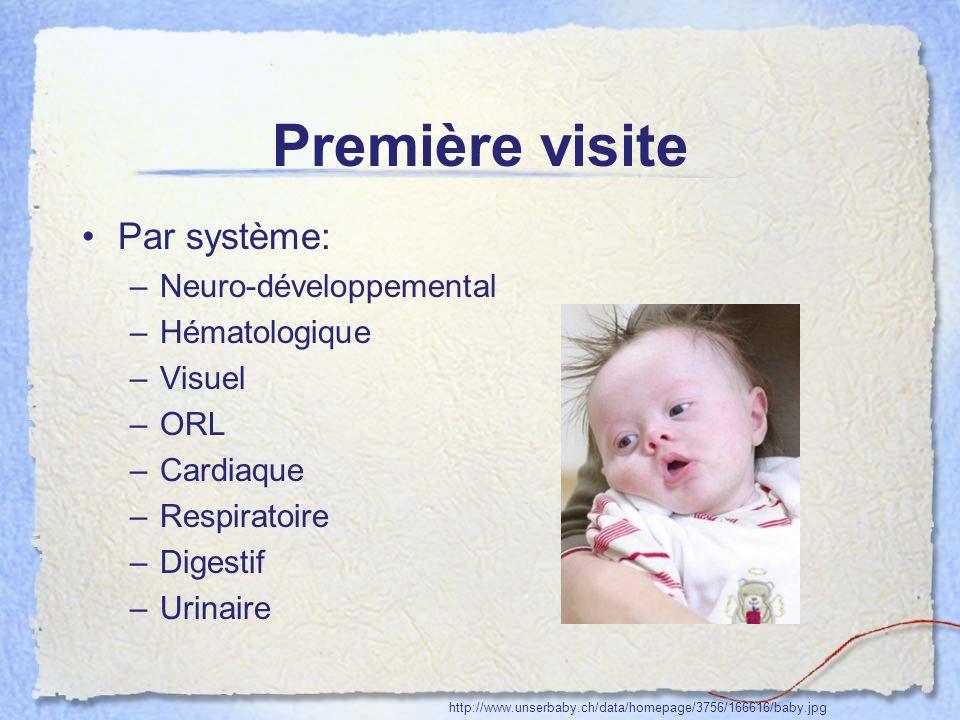 Première visite Par système: Neuro-développemental Hématologique