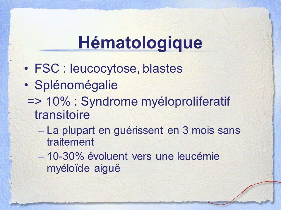 Hématologique FSC : leucocytose, blastes Splénomégalie