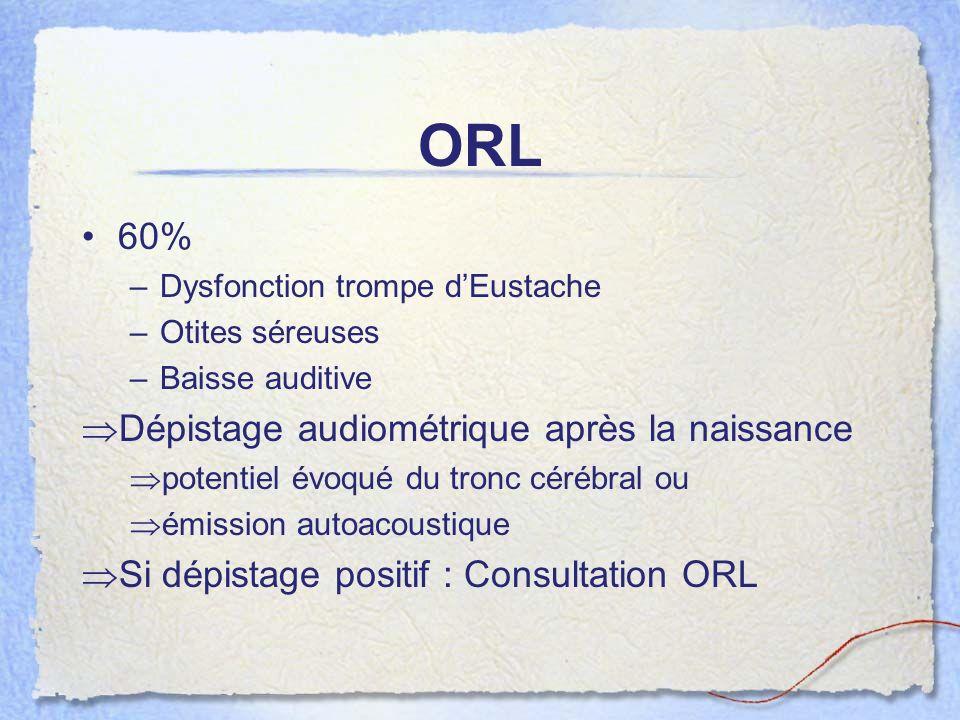 ORL 60% Dépistage audiométrique après la naissance