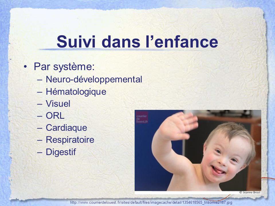 Suivi dans l'enfance Par système: Neuro-développemental Hématologique