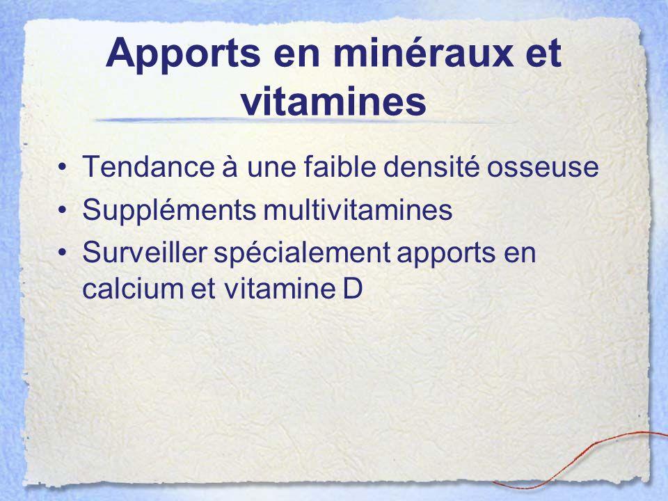 Apports en minéraux et vitamines