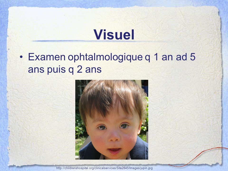 Visuel Examen ophtalmologique q 1 an ad 5 ans puis q 2 ans