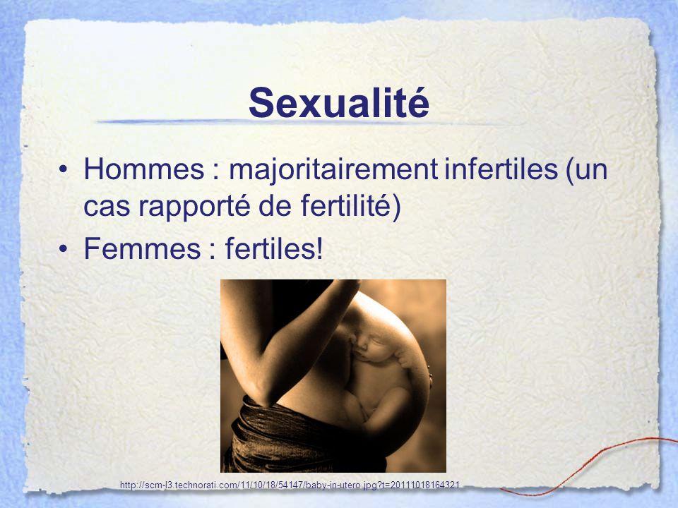 Sexualité Hommes : majoritairement infertiles (un cas rapporté de fertilité) Femmes : fertiles!