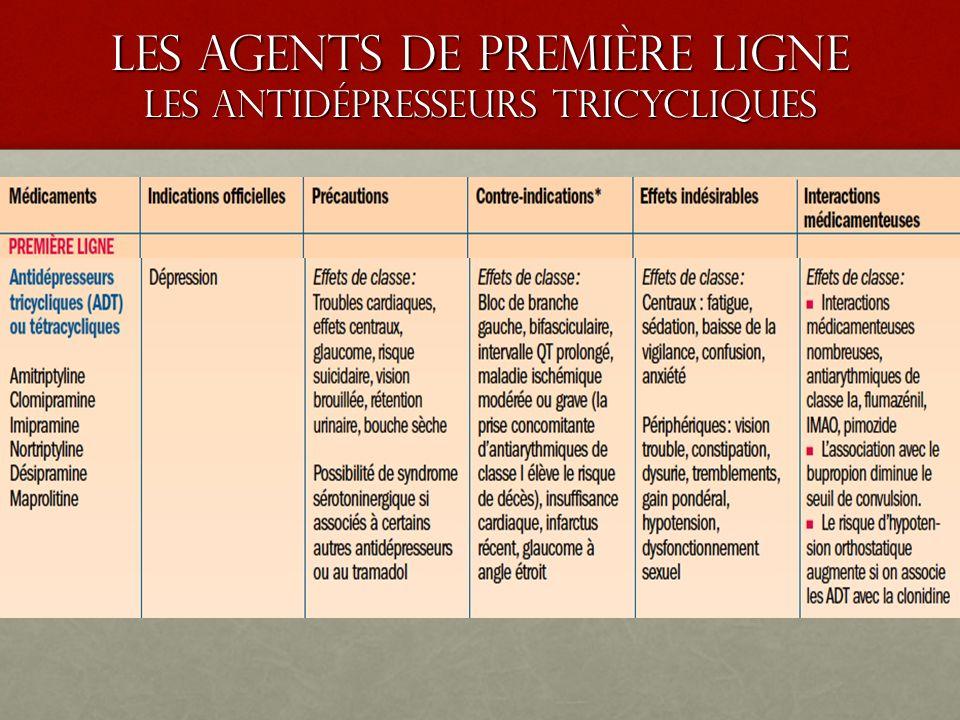 les agents de premiÈre ligne LES ANTIDÉPRESSEURS TRICYCLIQUES