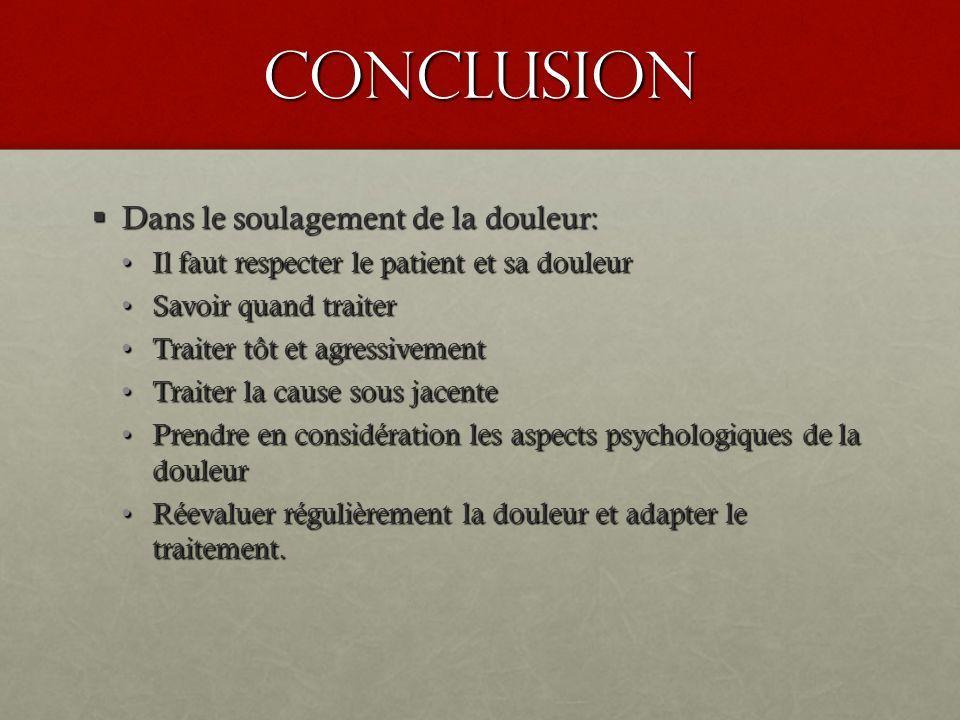 conclusion Dans le soulagement de la douleur: