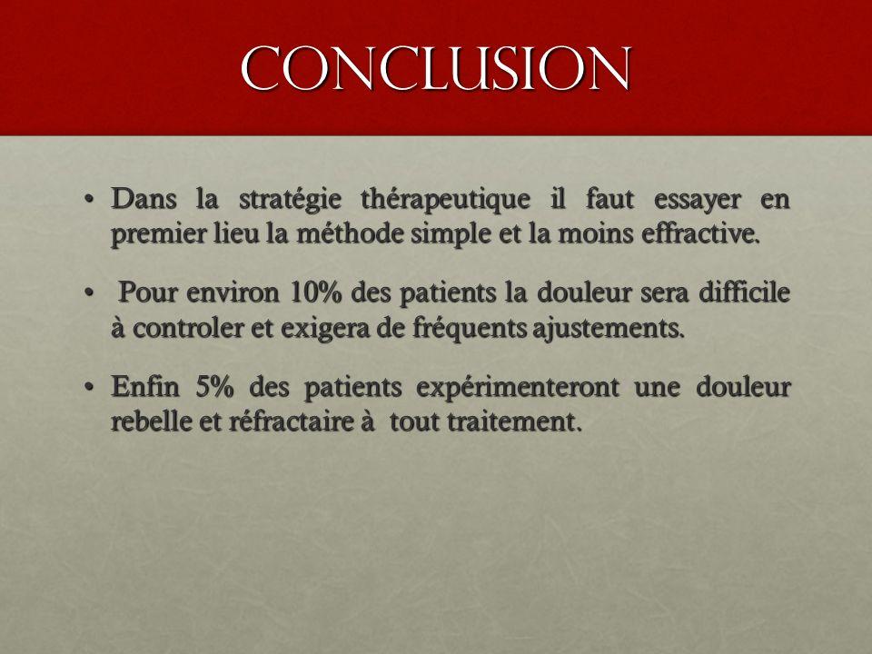 conclusion Dans la stratégie thérapeutique il faut essayer en premier lieu la méthode simple et la moins effractive.