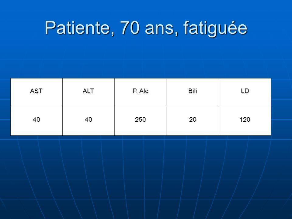 Patiente, 70 ans, fatiguée AST ALT P. Alc Bili LD 40 250 20 120