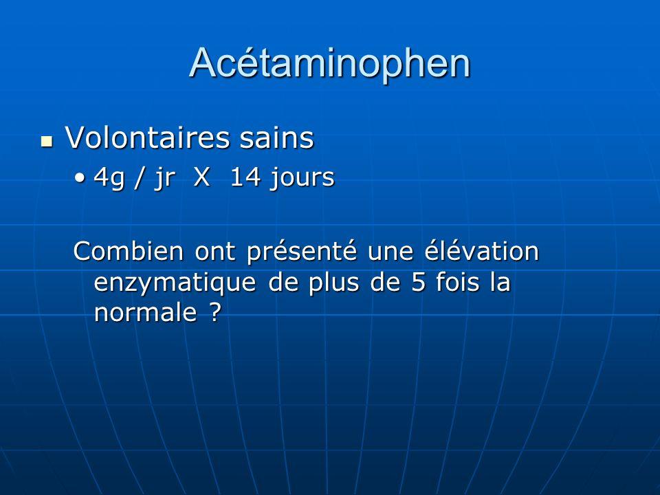 Acétaminophen Volontaires sains 4g / jr X 14 jours