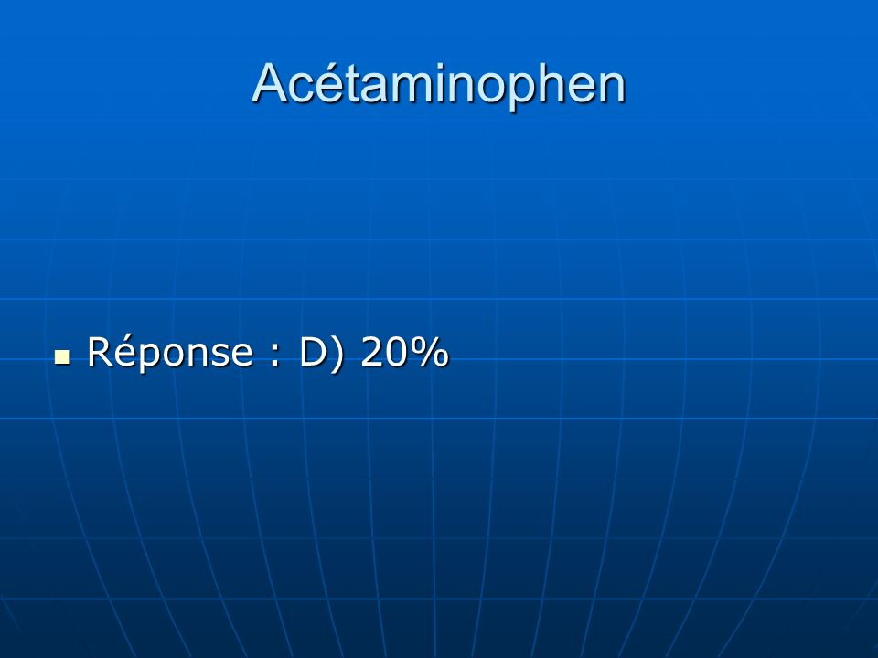 Acétaminophen Réponse : D) 20%