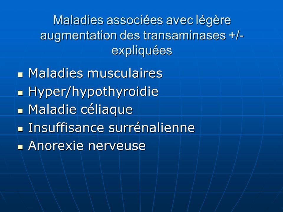 Maladies associées avec légère augmentation des transaminases +/- expliquées