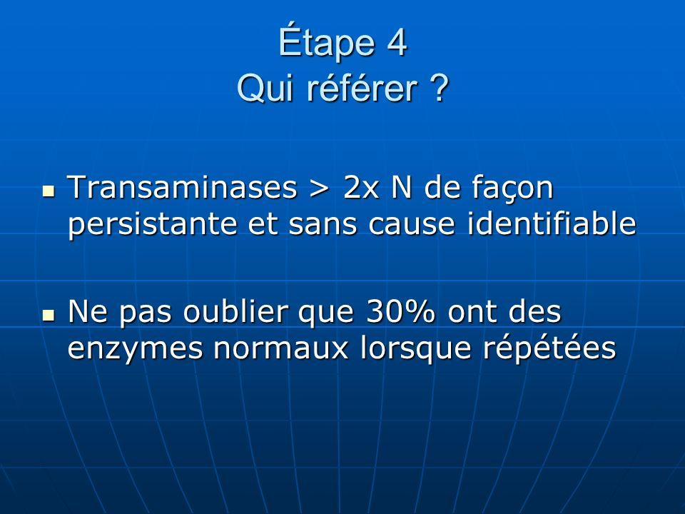 Étape 4 Qui référer Transaminases > 2x N de façon persistante et sans cause identifiable.