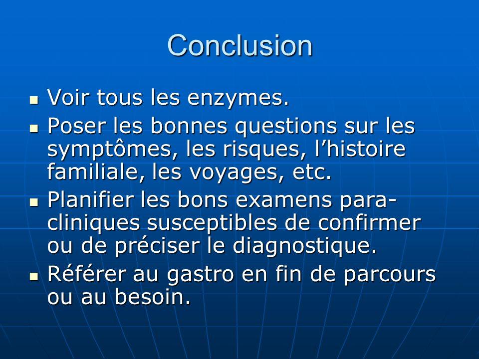 Conclusion Voir tous les enzymes.