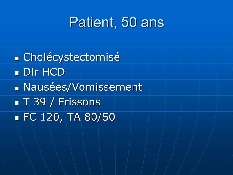 Patient, 50 ans Cholécystectomisé Dlr HCD Nausées/Vomissement