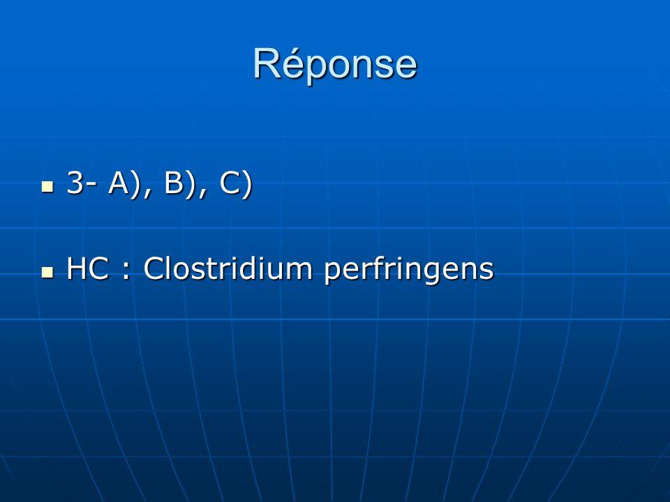 Réponse 3- A), B), C) HC : Clostridium perfringens