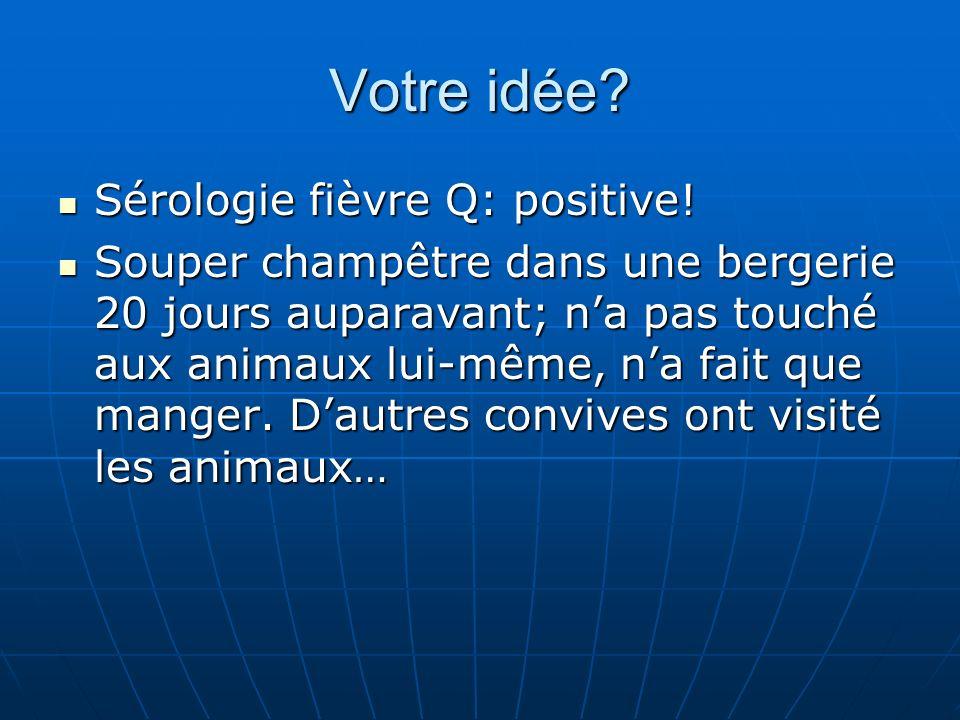 Votre idée Sérologie fièvre Q: positive!