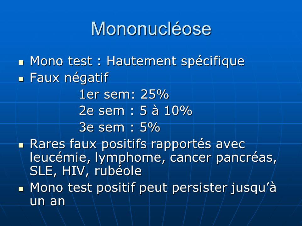 Mononucléose Mono test : Hautement spécifique Faux négatif