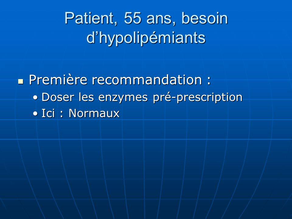 Patient, 55 ans, besoin d'hypolipémiants