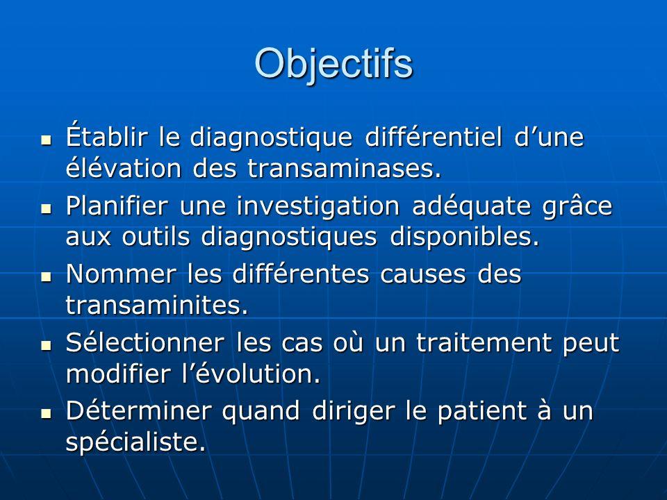 Objectifs Établir le diagnostique différentiel d'une élévation des transaminases.