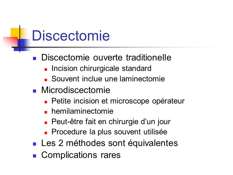 Discectomie Discectomie ouverte traditionelle Microdiscectomie