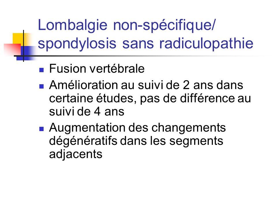 Lombalgie non-spécifique/ spondylosis sans radiculopathie