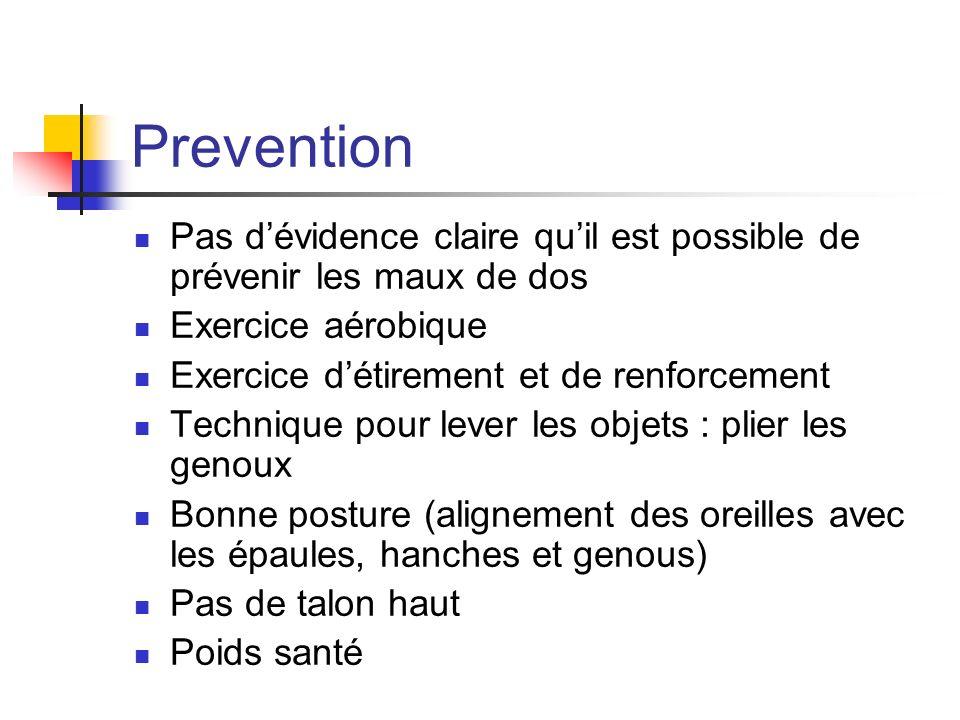 Prevention Pas d'évidence claire qu'il est possible de prévenir les maux de dos. Exercice aérobique.
