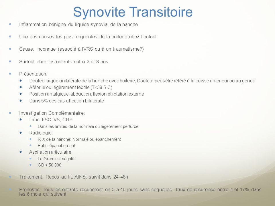 Synovite TransitoireInflammation bénigne du liquide synovial de la hanche. Une des causes les plus fréquentes de la boiterie chez l'enfant.