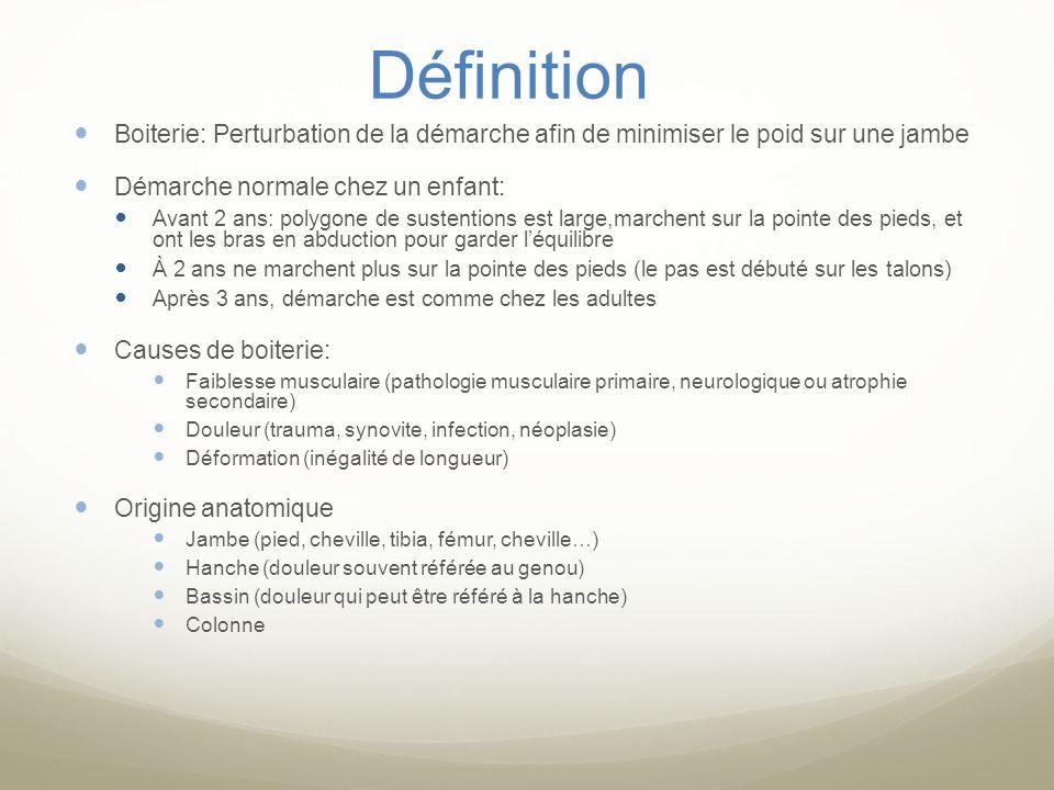 Définition Boiterie: Perturbation de la démarche afin de minimiser le poid sur une jambe. Démarche normale chez un enfant: