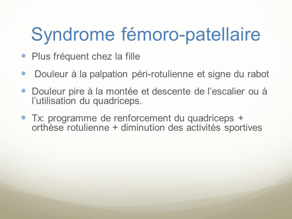 Syndrome fémoro-patellaire
