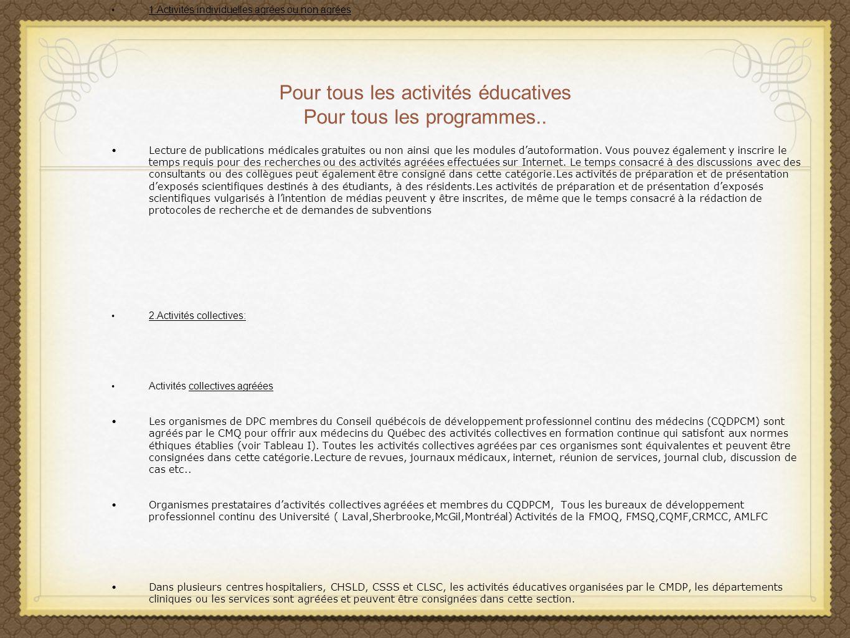 Pour tous les activités éducatives Pour tous les programmes..