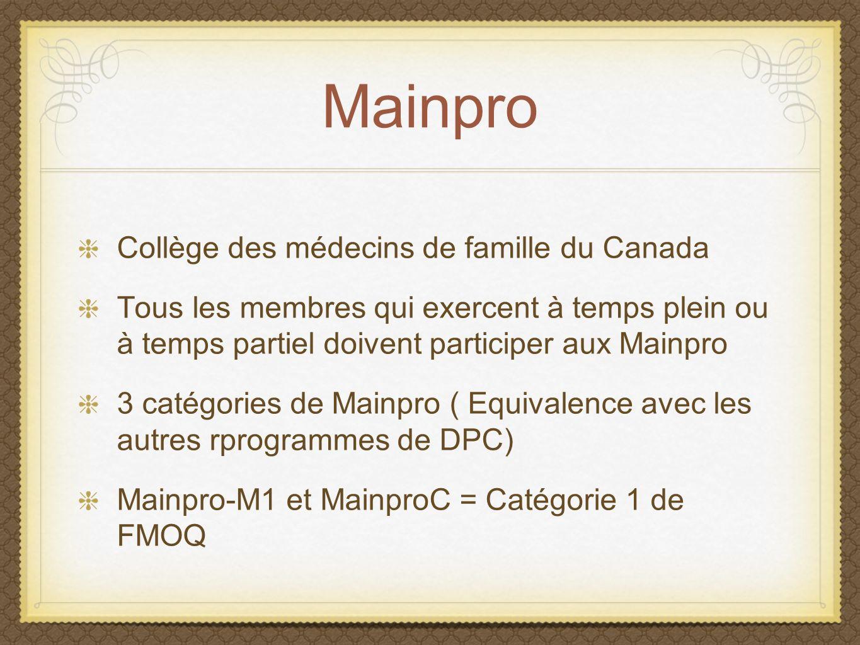 Mainpro Collège des médecins de famille du Canada
