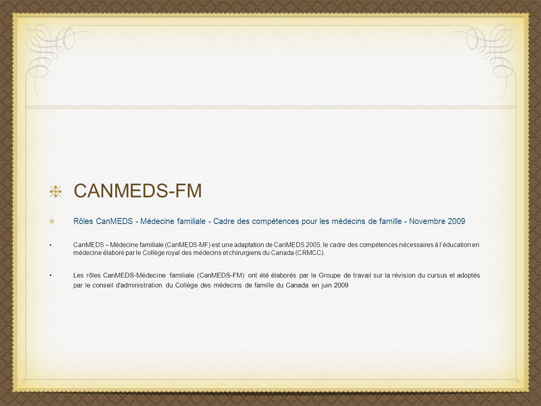 CANMEDS-FMRôles CanMEDS - Médecine familiale - Cadre des compétences pour les médecins de famille - Novembre 2009.