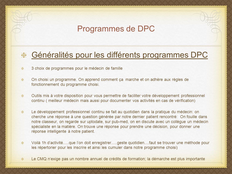Généralités pour les différents programmes DPC