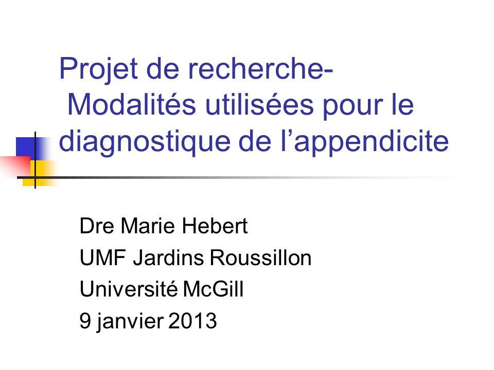 Projet de recherche- Modalités utilisées pour le diagnostique de l'appendicite