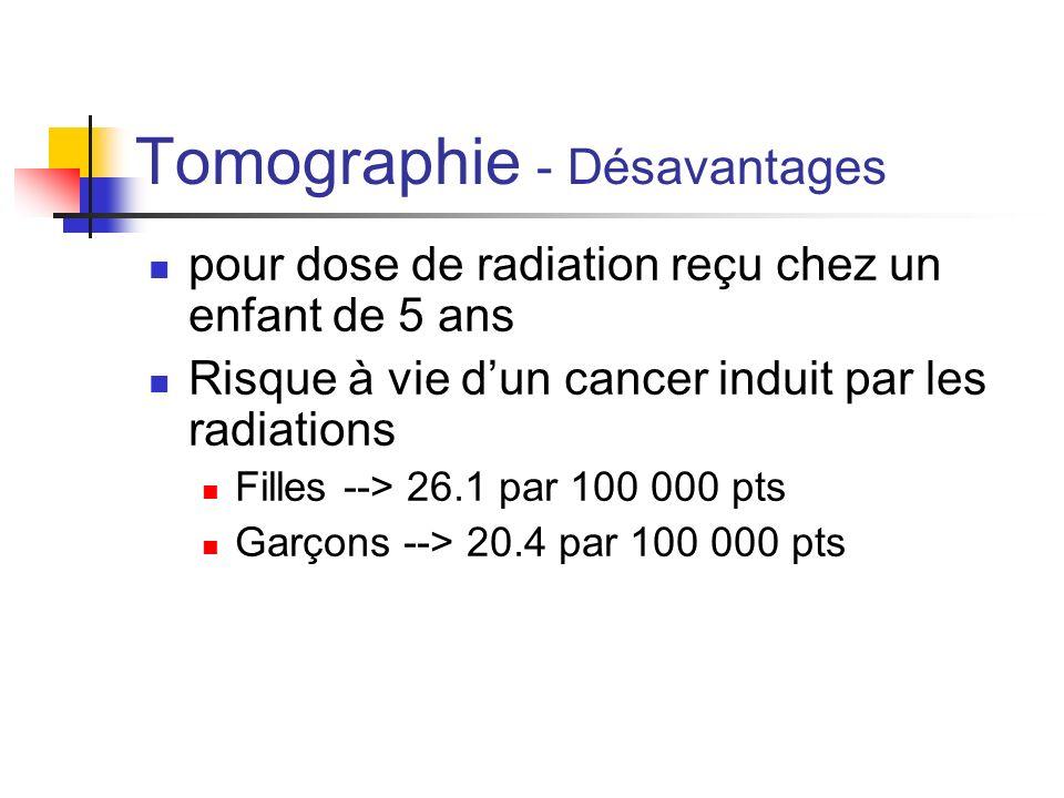 Tomographie - Désavantages