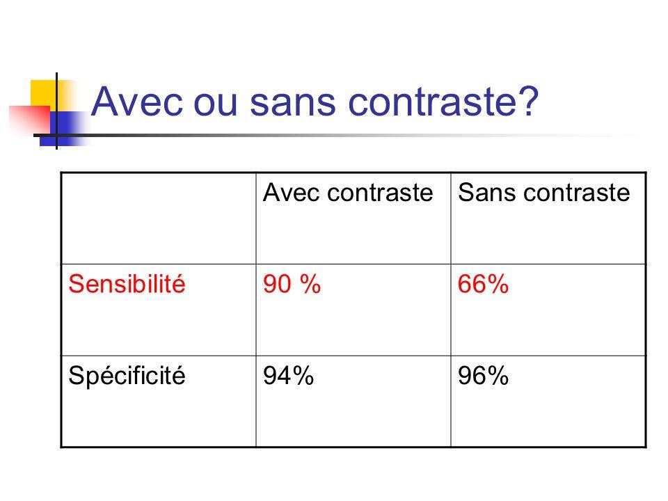 Avec ou sans contraste Avec contraste Sans contraste Sensibilité 90 %