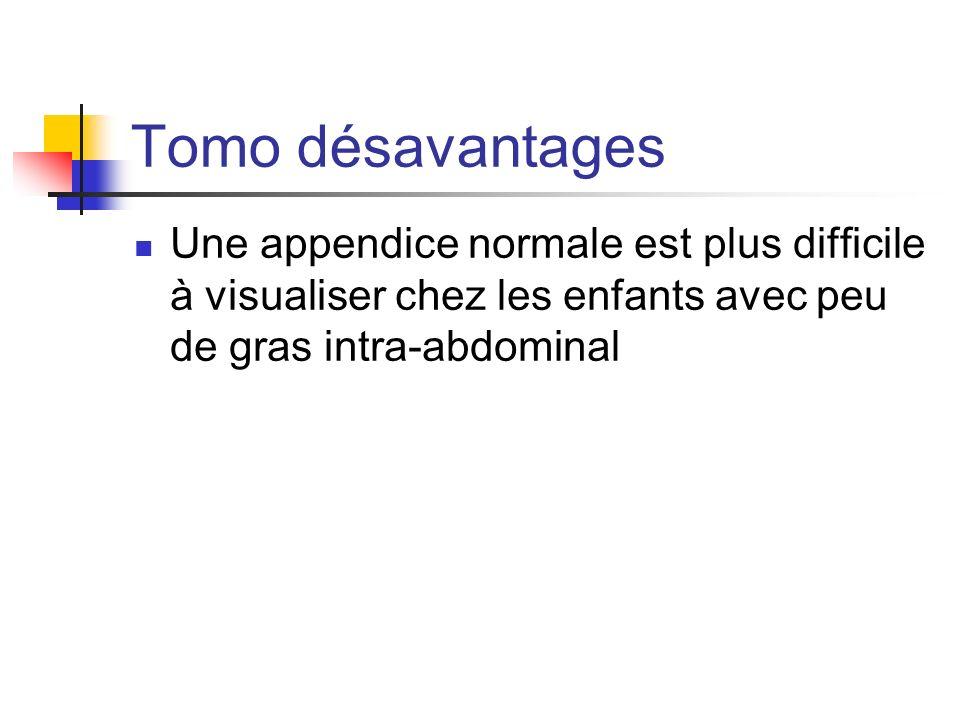 Tomo désavantages Une appendice normale est plus difficile à visualiser chez les enfants avec peu de gras intra-abdominal.